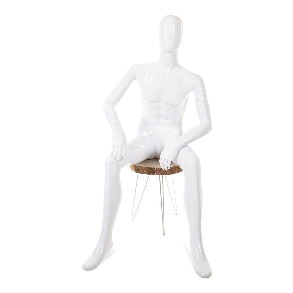 Mannequin homme tête abstraite ABS; blanc - Modèle 49