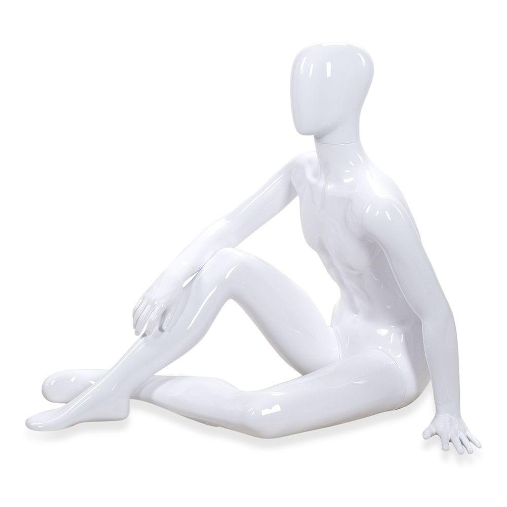 Mannequin homme tête abstraite ABS; blanc - Modèle 51