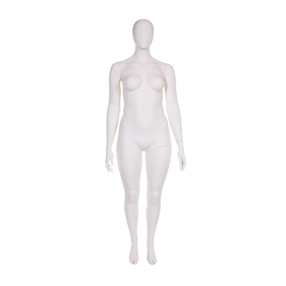 Mannequin femme ronde tête abstraite couleur blanc lait inclus socle (photo)