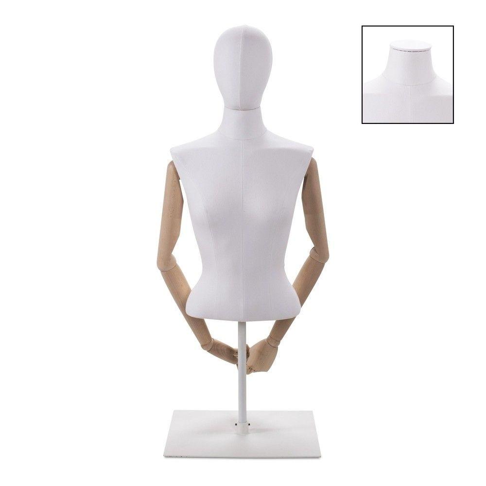 Buste femme court couture bras tissu+socle blanc - Modèle 60 (photo)