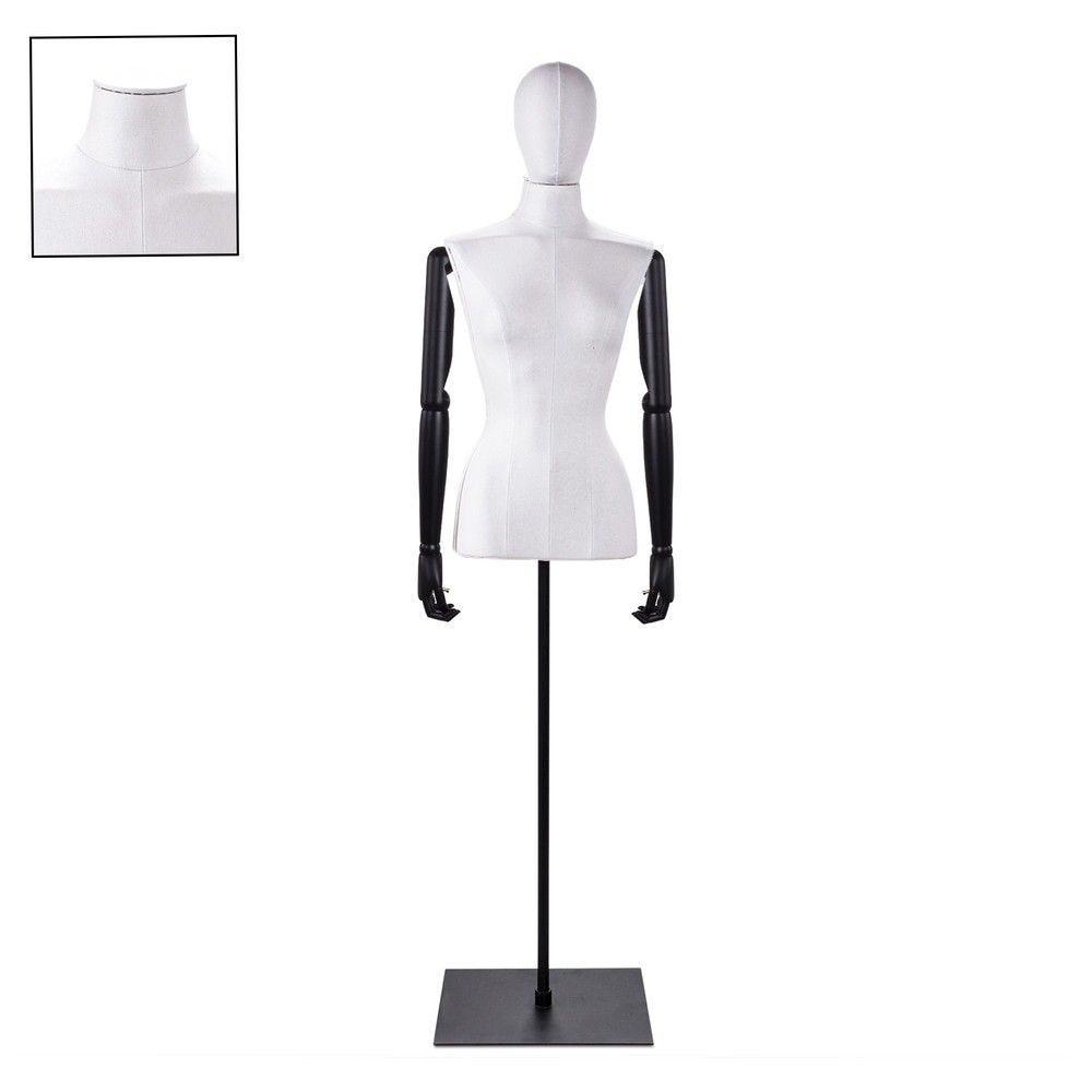Buste femme blanc couture bras socle noir - Modèle 67 (photo)