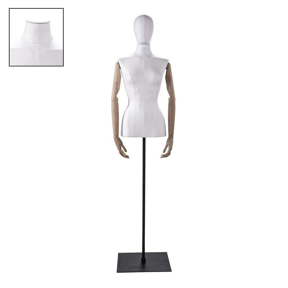Buste femme blanc couture bras socle noir - Modèle 68 (photo)