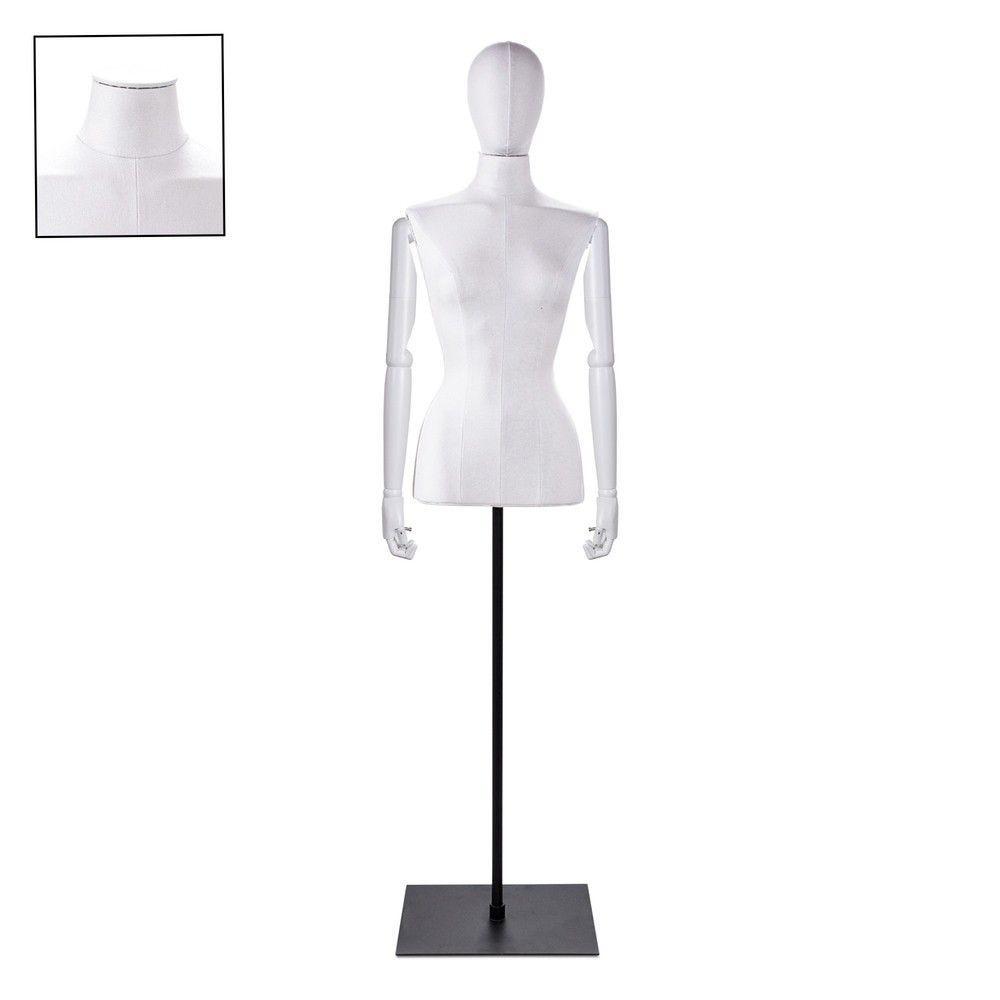 Buste femme blanc couture bras socle noir - Modèle 69 (photo)