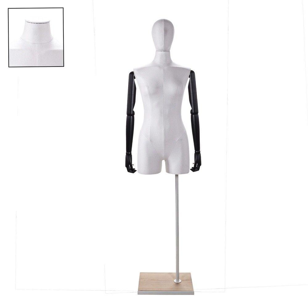 Buste femme avec jambes et bras tissu blancsocle - Modèle 71 (photo)