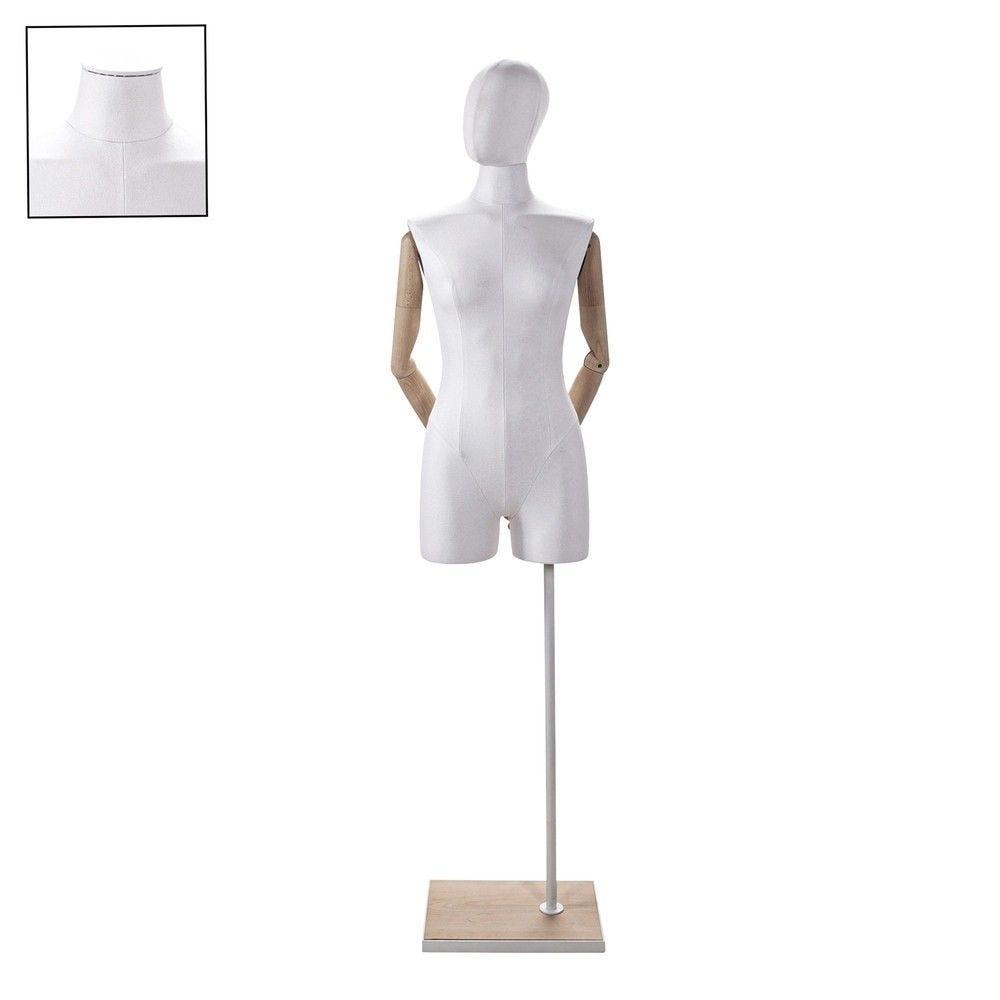 Buste femme avec jambes et bras tissu blancsocle - Modèle 72 (photo)