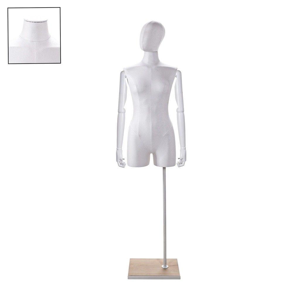 Buste femme avec jambes et bras tissu blancsocle - Modèle 73 (photo)