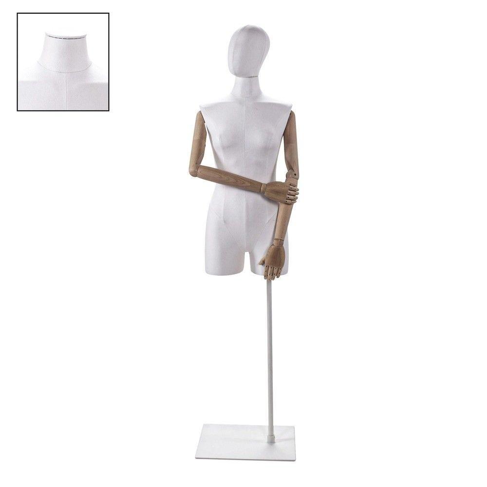 Buste femme avec jambes et bras tissu blancsocle - Modèle 76 (photo)