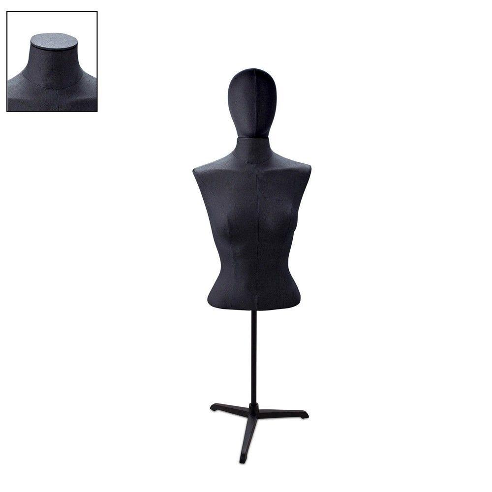 Buste femme court couture tissu noir tripode - Modèle 78 (photo)