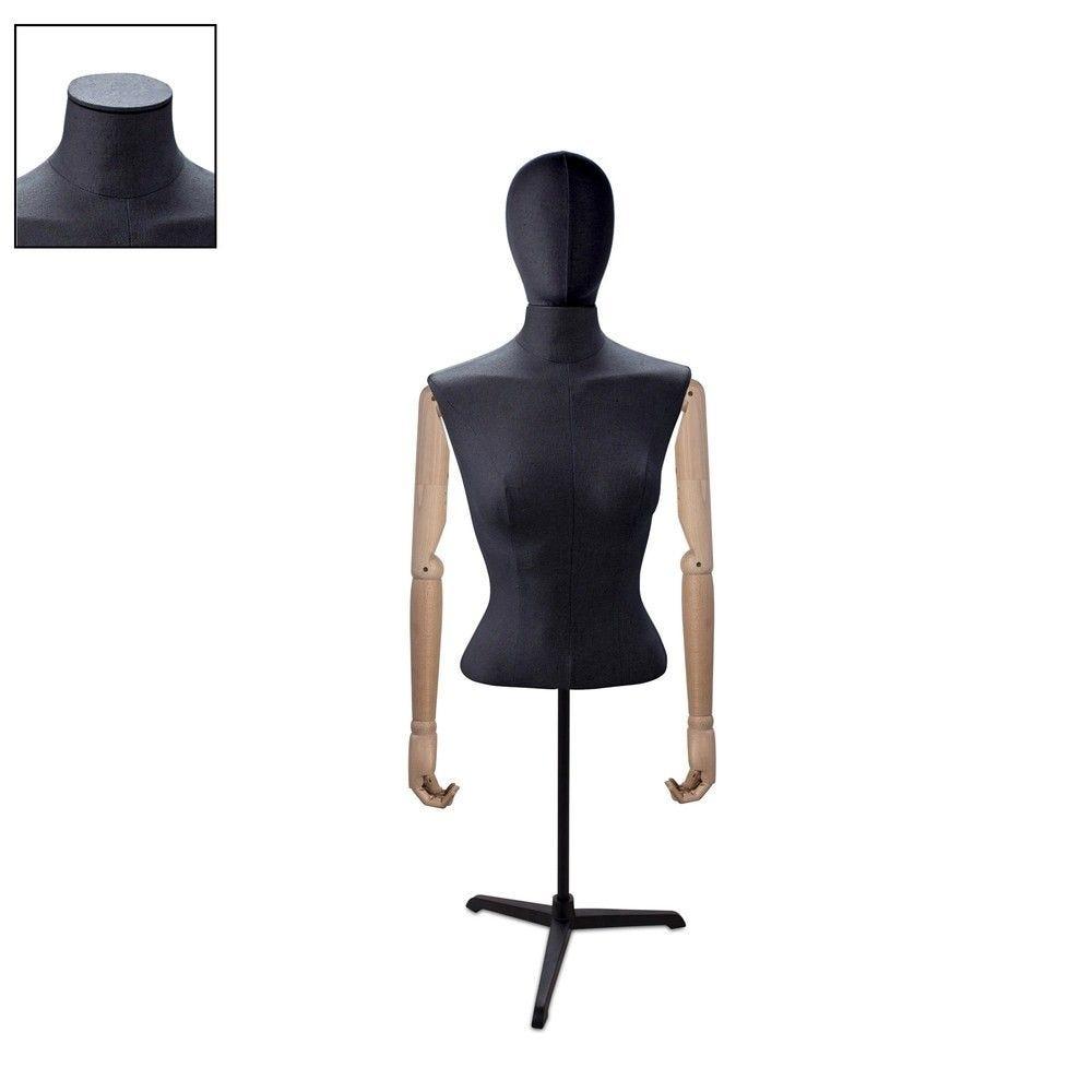 Buste femme court couture bras noir tripode - Modèle 80 (photo)