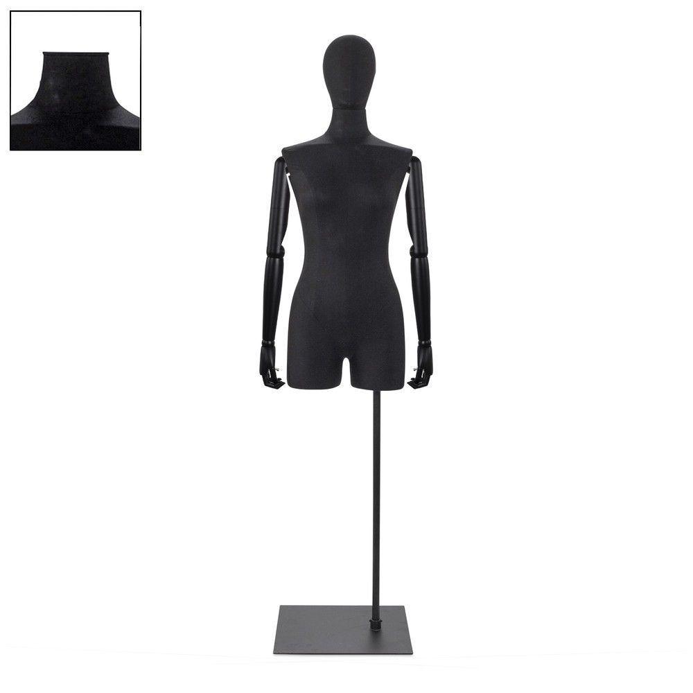 Buste femme avec jambes et bras tissu noir socle - Modèle 82 (photo)