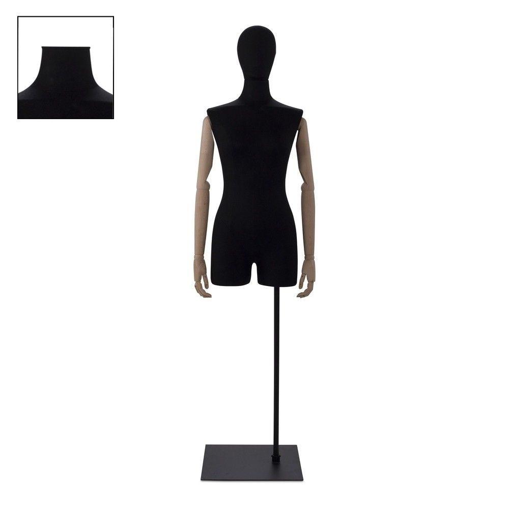 Buste femme avec jambes et bras tissu noir socle - Modèle 83 (photo)