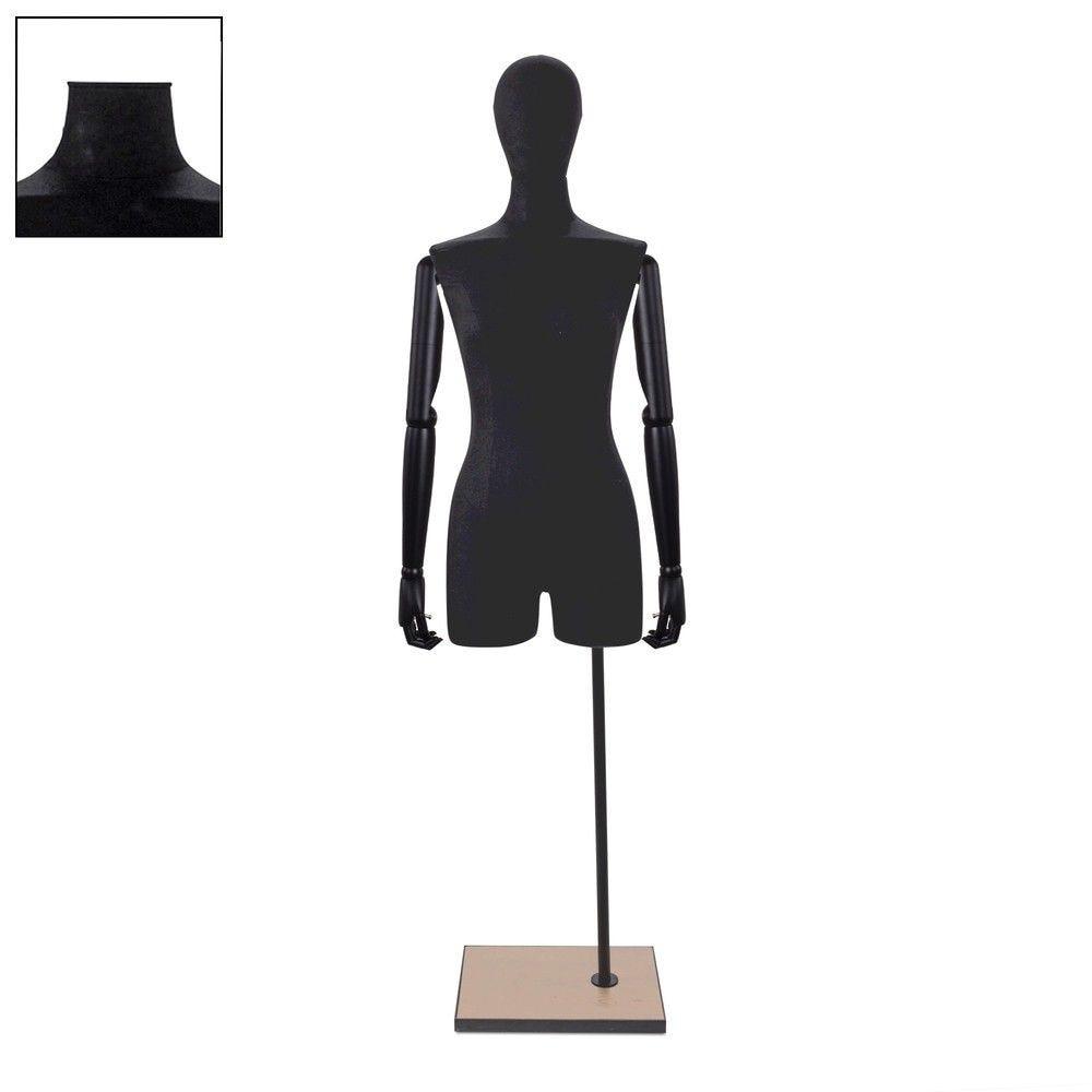 Buste femme avec jambes et bras tissu noir socle - Modèle 85 (photo)