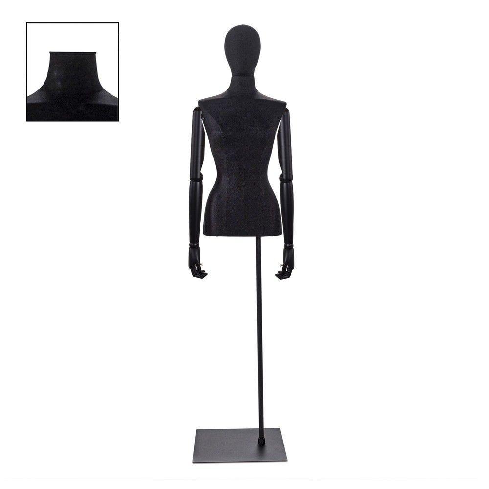 Buste femme couture avec bras tissu noir socle - Modèle 88 (photo)