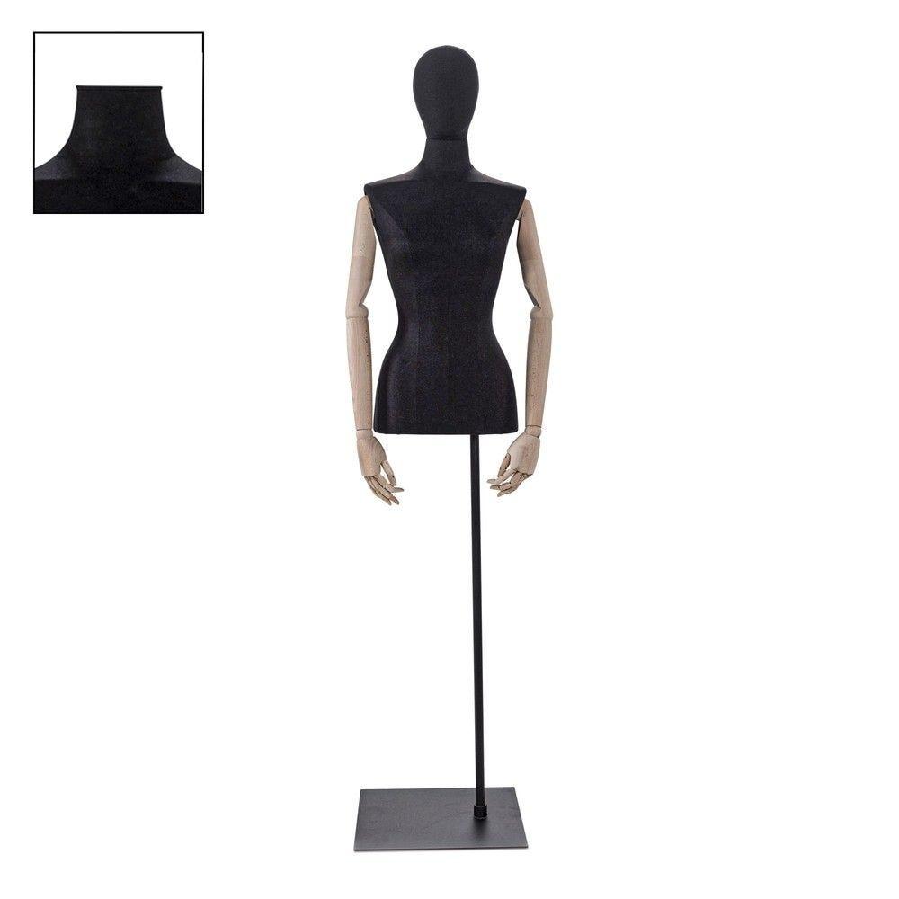 Buste femme couture avec bras tissu noir socle - Modèle 89 (photo)