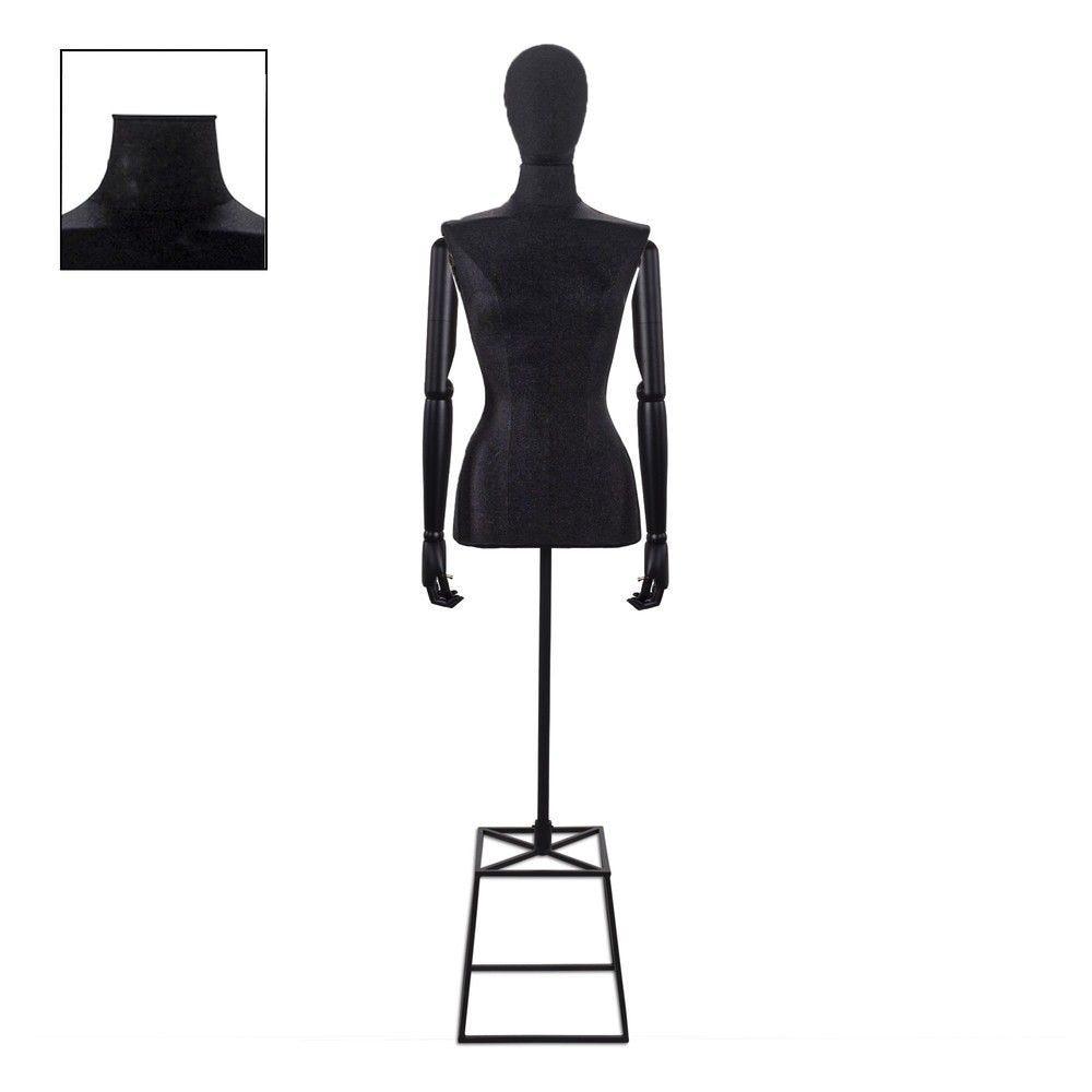 Buste femme couture avec bras tissu noir cube - Modèle 91 (photo)