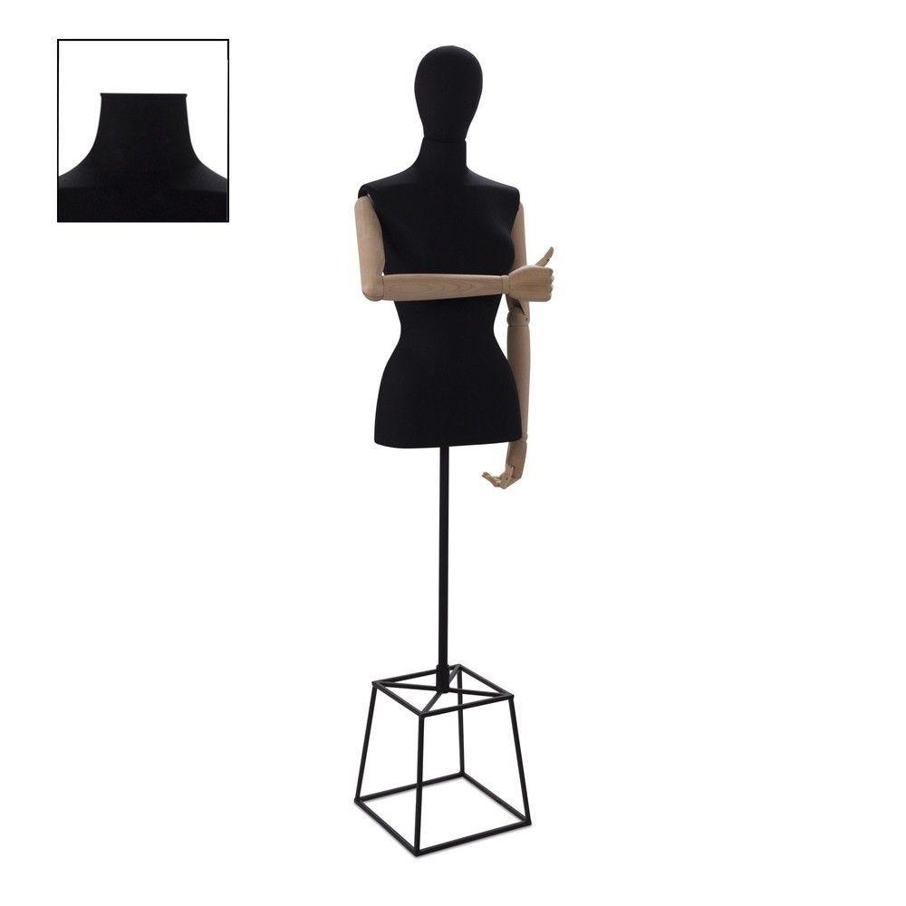 Buste femme couture avec bras tissu noir cube - Modèle 92 (photo)