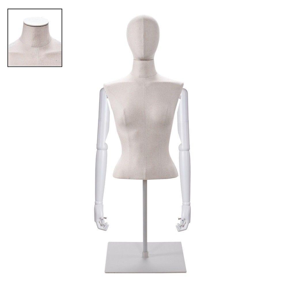 Buste femme court couture bras tissu écru socle - Modèle 95 (photo)
