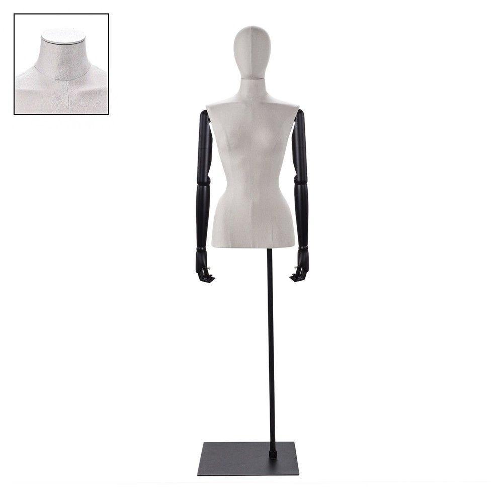 Buste femme couture bras tissu écru socle - Modèle 97 (photo)