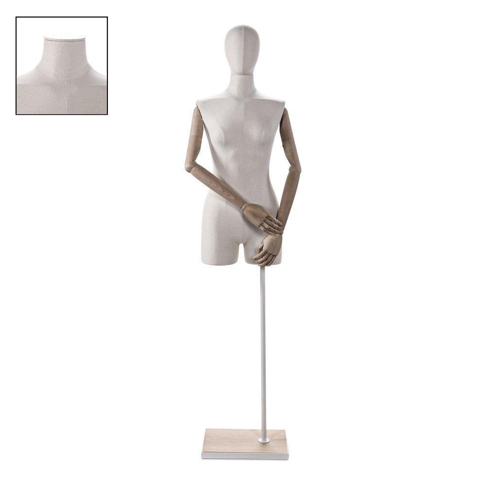 Buste femme avec jambes et bras tissu écru socle - Modèle 100 (photo)