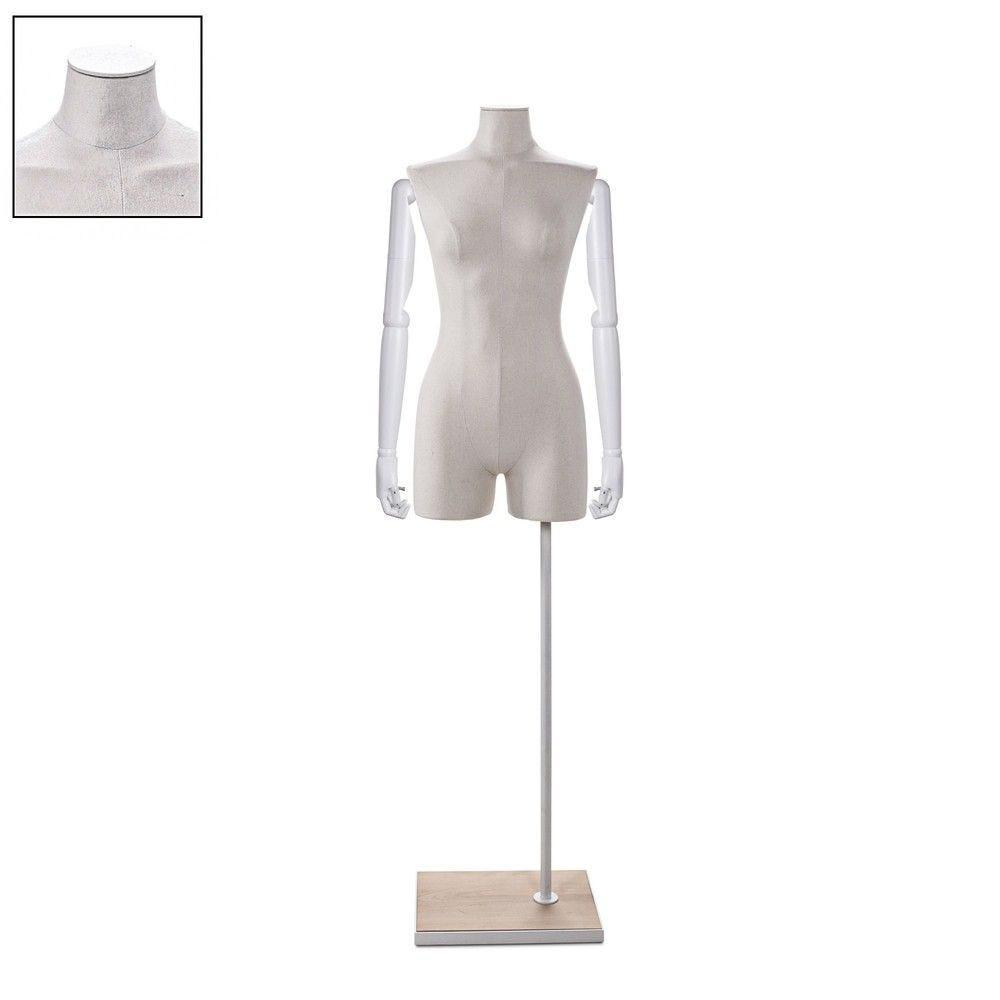 Buste femme avec jambes et bras tissu écru socle - Modèle 101 (photo)