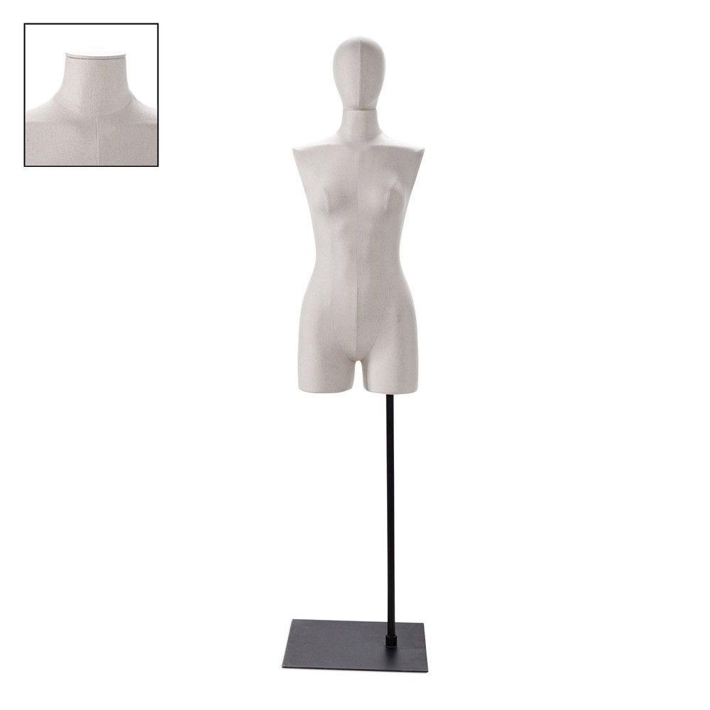 Buste femme avec jambes tissu écru socle - Modèle 102 (photo)
