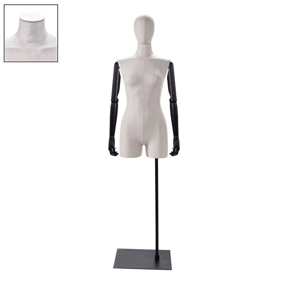 Buste femme avec jambes et bras tissu écru socle - Modèle 103 (photo)
