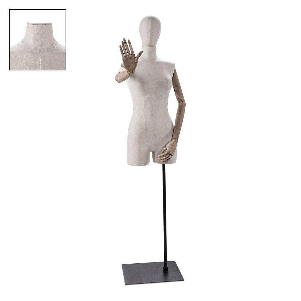 Buste femme avec jambes et bras tissu écru socle - Modèle 104 (photo)