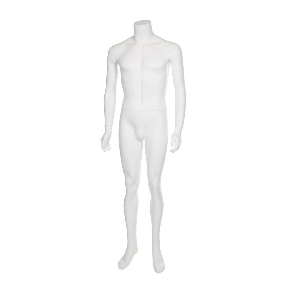 Mannequin homme sans tête résine blanc mat avec socle en verre (photo)