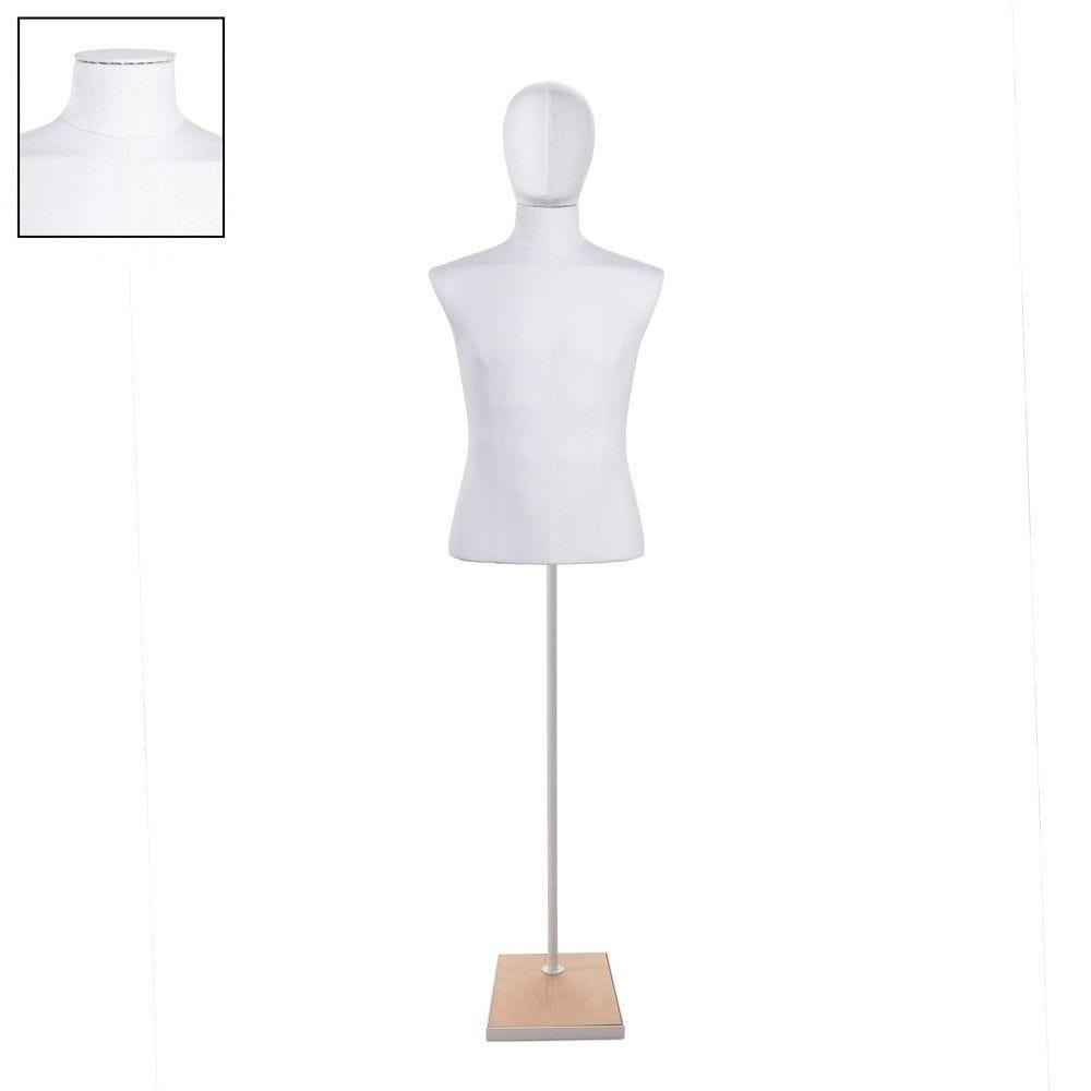 Buste homme court couture tissu+socle blanc - Modèle 141