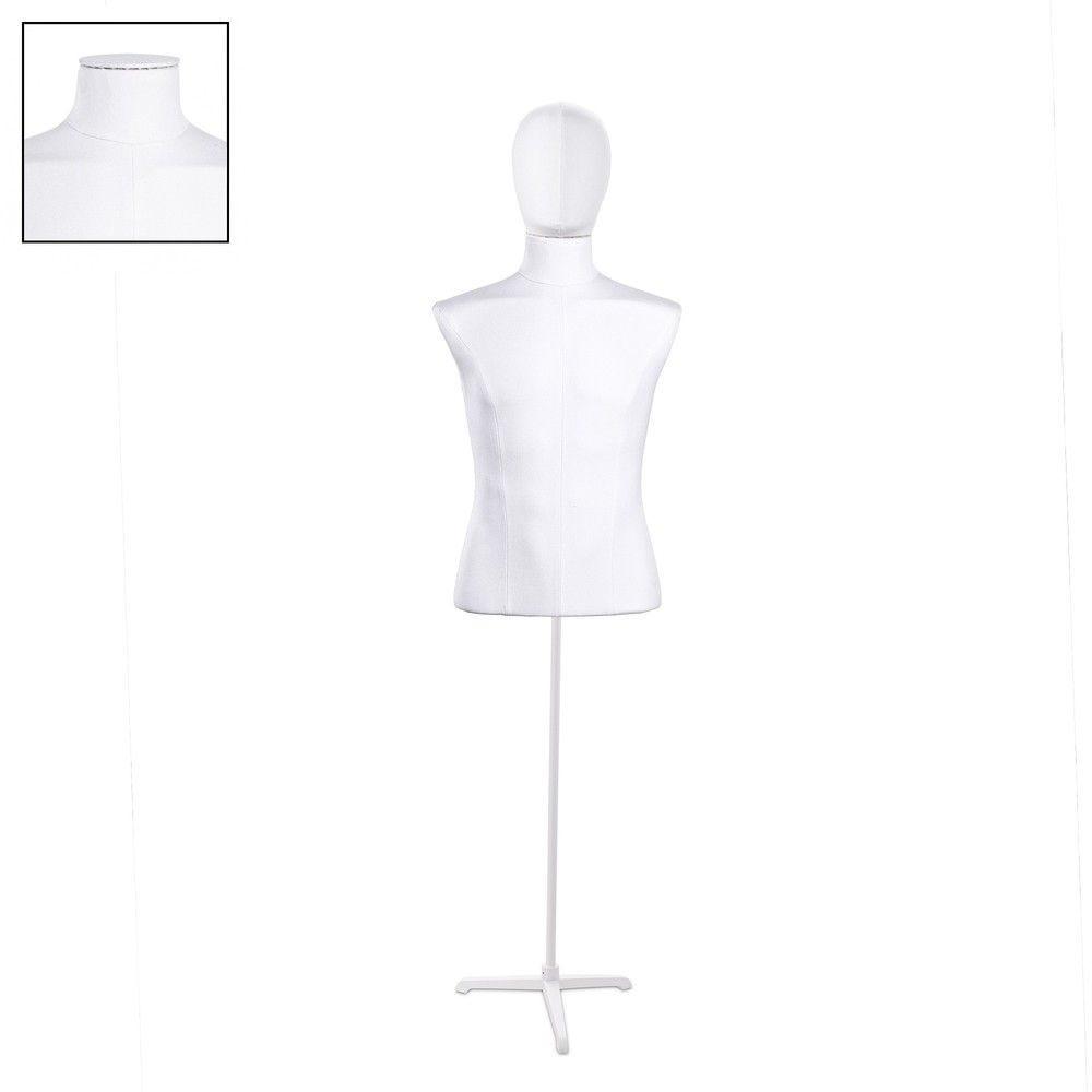 Buste homme court couture tissu+socle blanc - Modèle 145