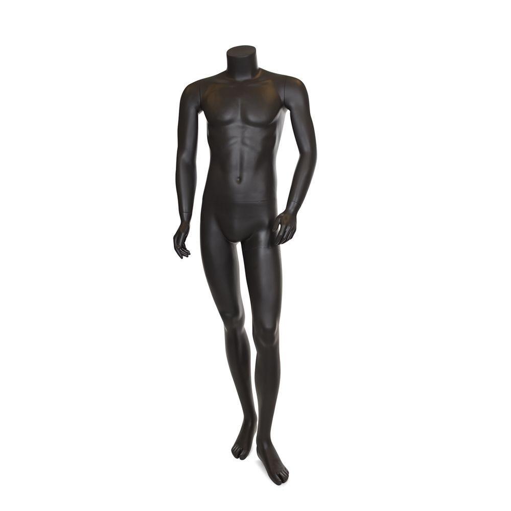 Mannequin homme sans tête résine finition peinture gris foncé mat et socle verre (photo)