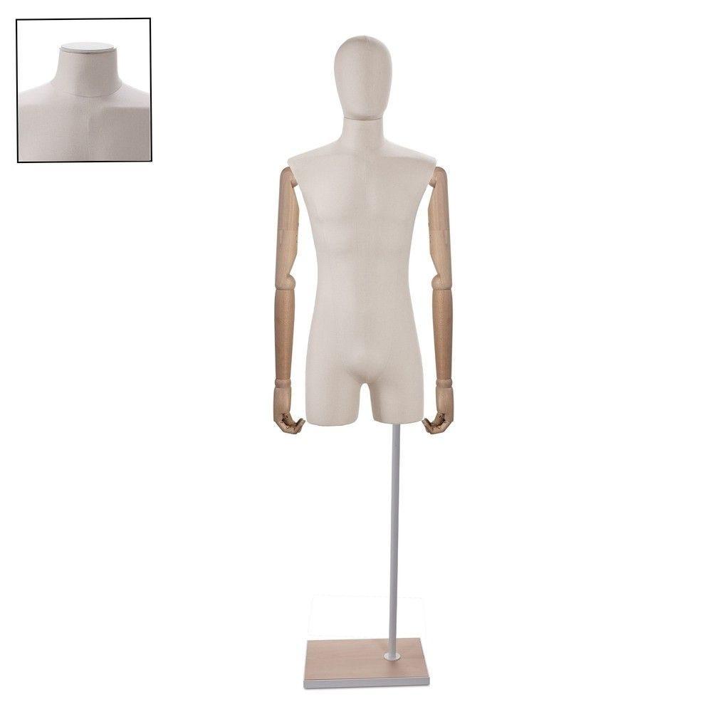 Buste homme couture avec bras tissu ecru - Modèle 162