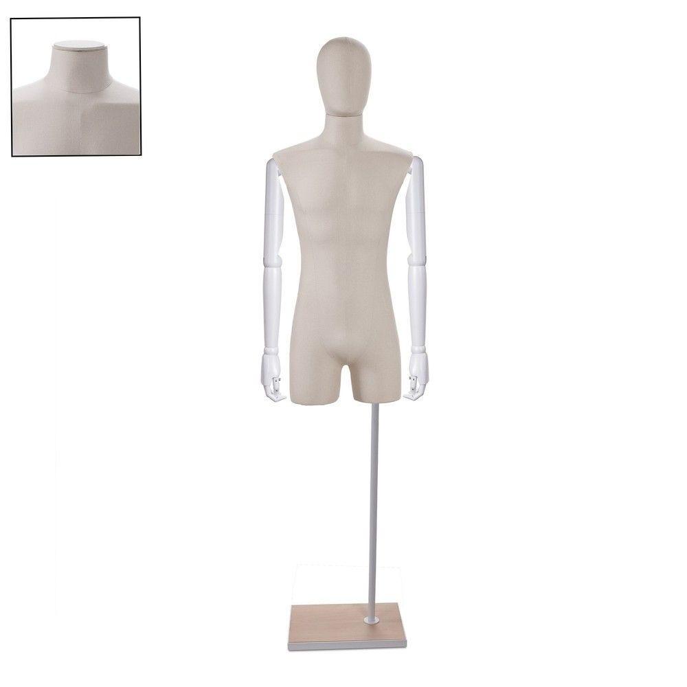 Buste homme couture avec bras tissu ecru - Modèle 163