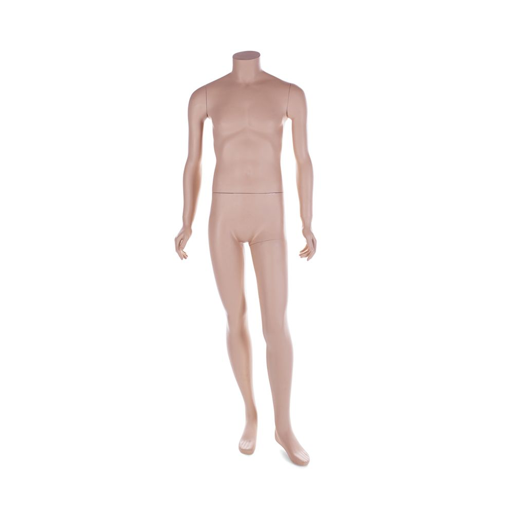 Mannequin homme sans tête résine peinture couleur chair mat avec socle inclus (photo)