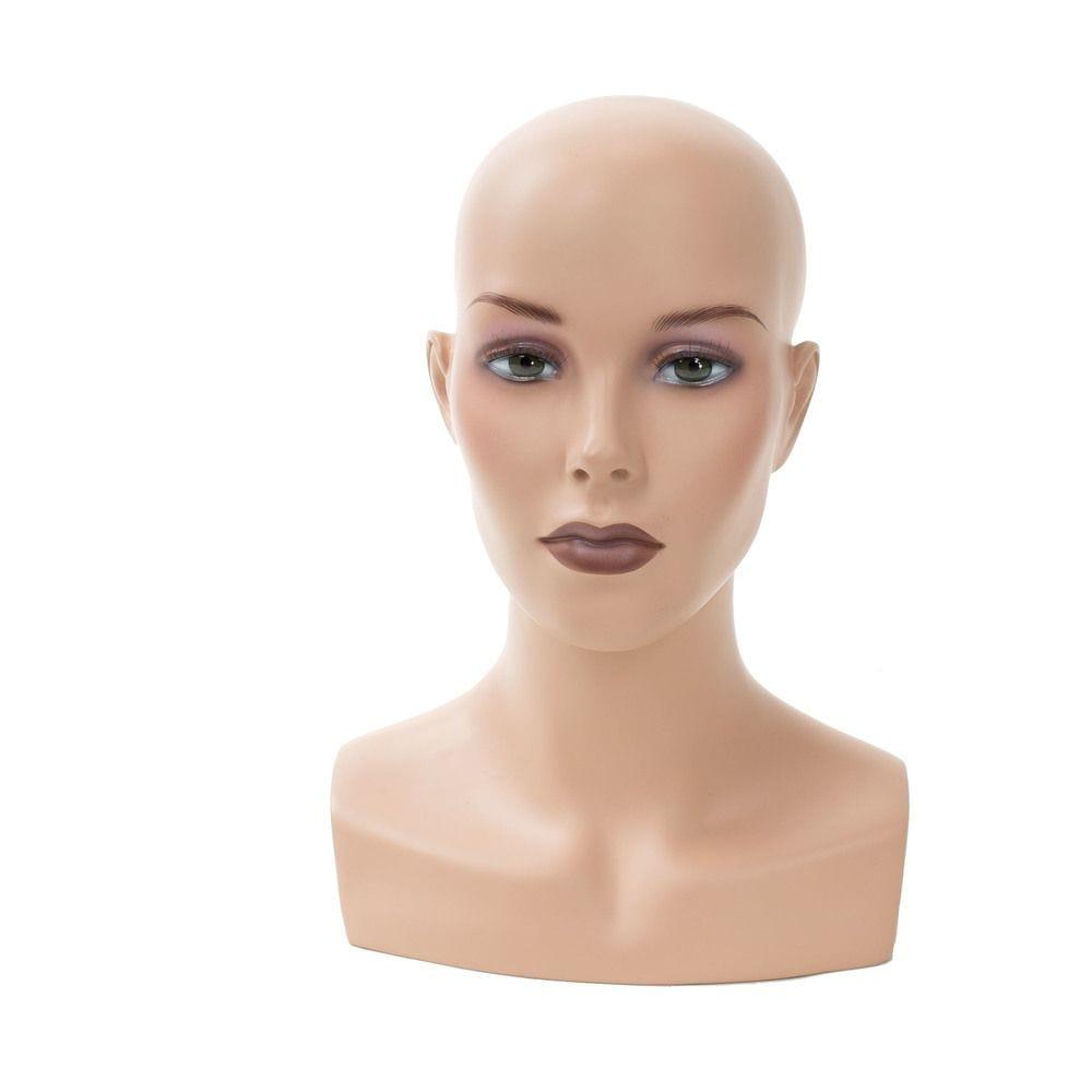 Tête femme réaliste chauve couleur chair + maquillage FRP