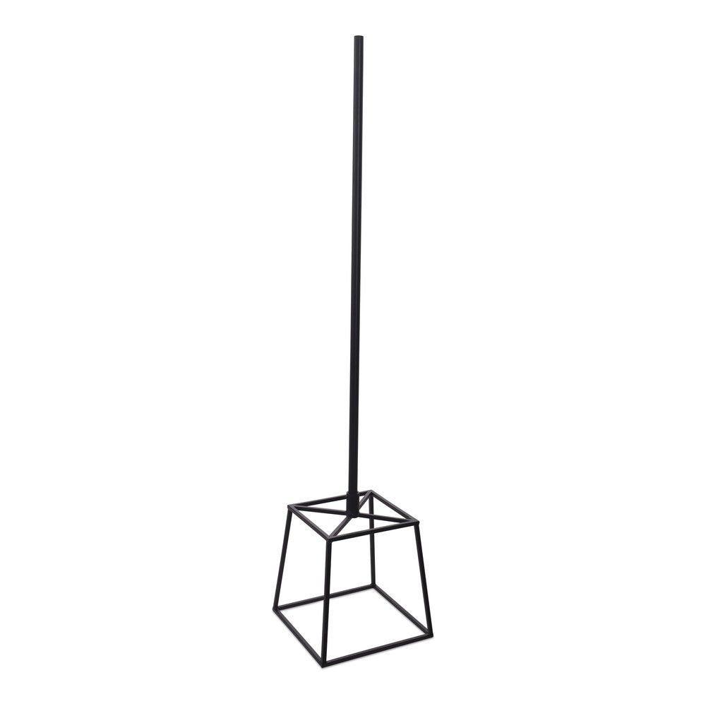 Cube en acier noir fixation tige au centre tige 110 cm en couleur noir