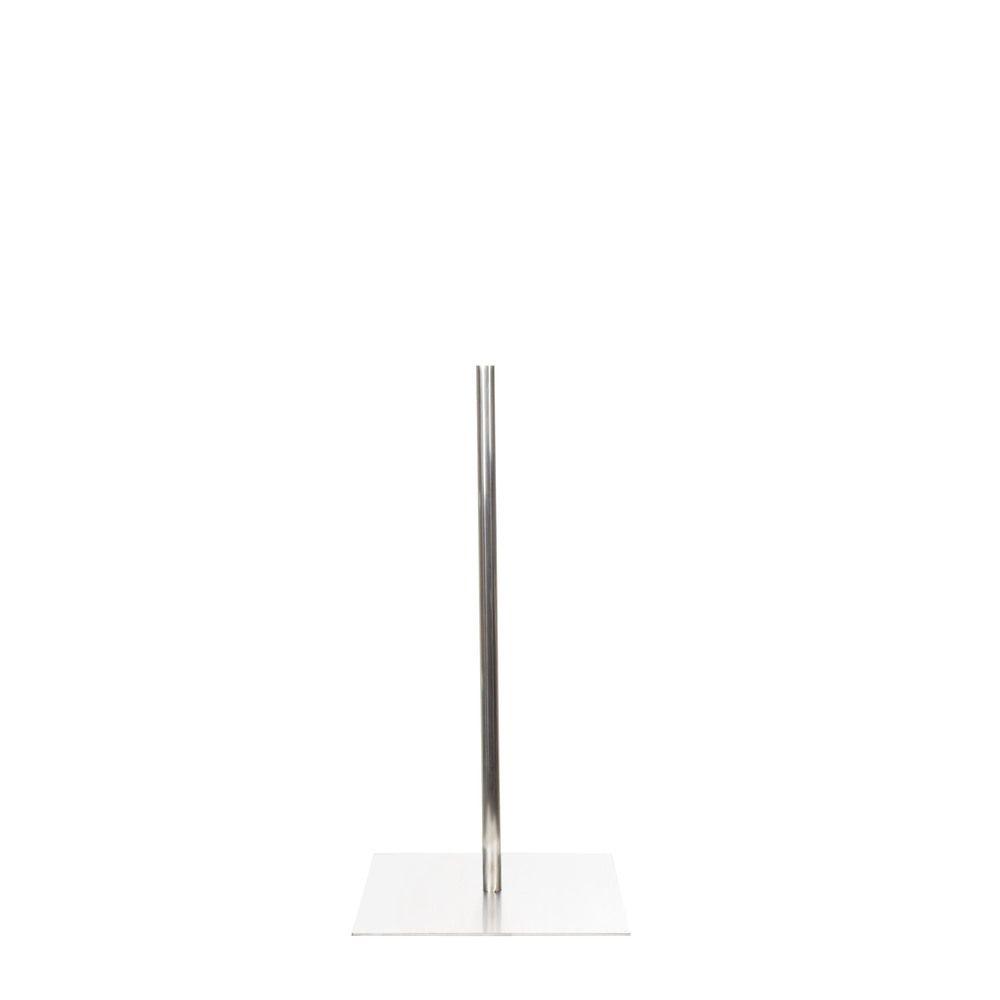Socle 30 x30 cm fixation au centre tige 60 cm acier inoxydable brossé