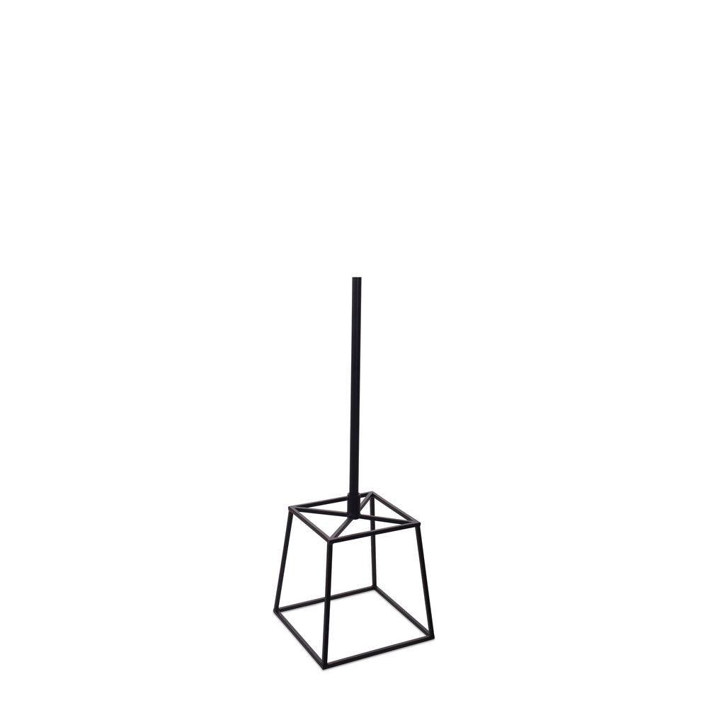 Cube en acier noir fixation tige au centre tige 55 cm en couleur noir
