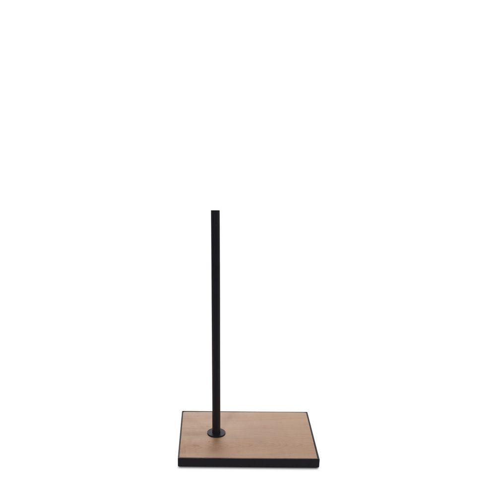 Socle rectangulaire 27x37cm fixation hors centre tige 55cm bois noir
