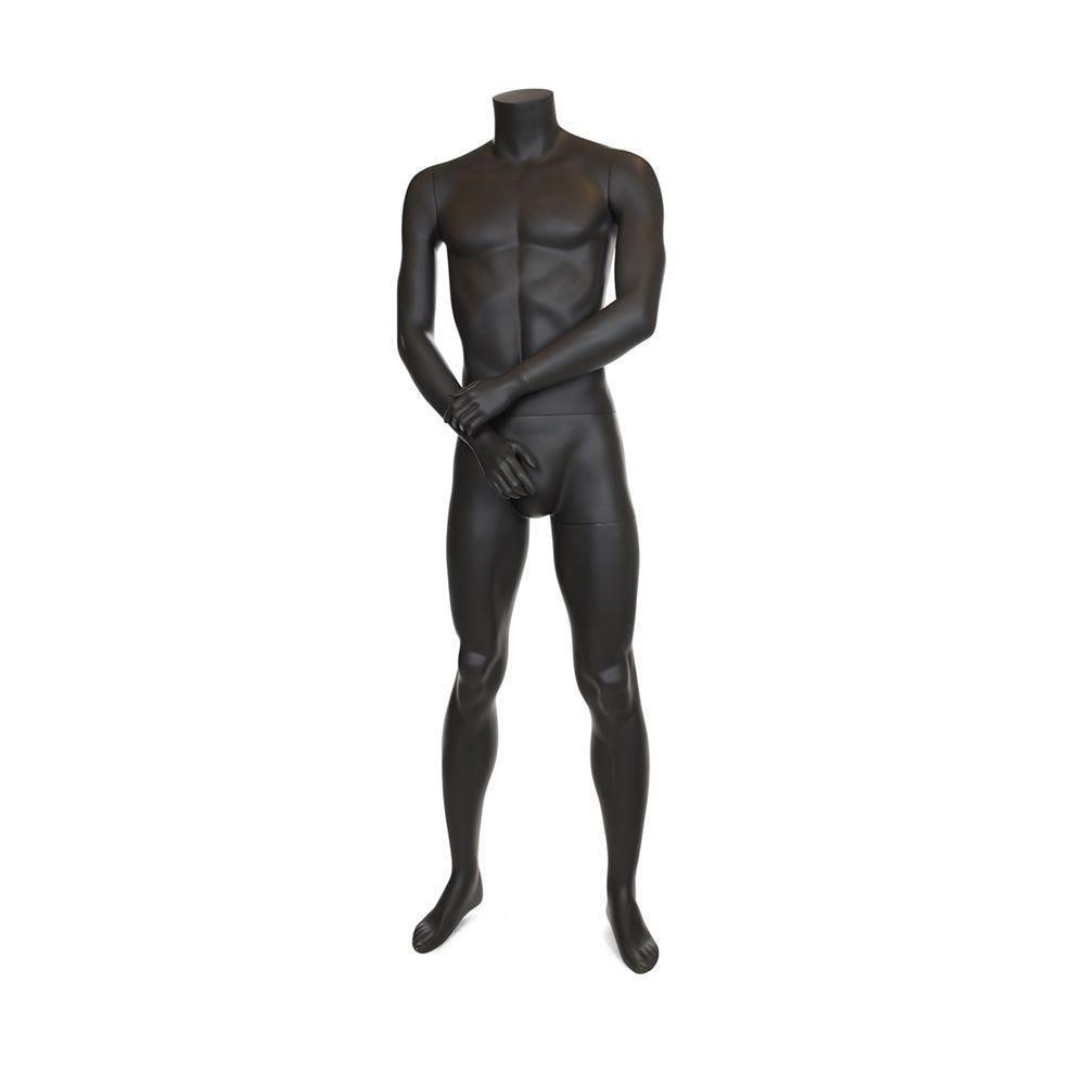 Mannequin homme sans tête résine finition peinture gris foncé mat socle verre (photo)