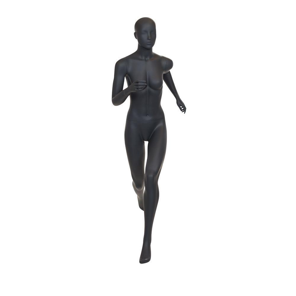 Mannequin femme de sport tête stylisée frp couleur gris graphite socle (photo)
