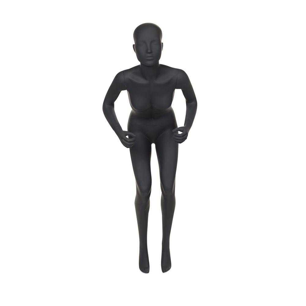 Mannequin femme de sport tête stylisée frp couleur gris graphite avec socle (photo)