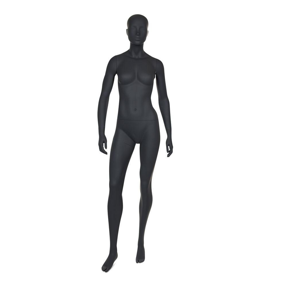 Mannequin femme de sport tête stylisée frp couleur gris graphite inclus socle (photo)