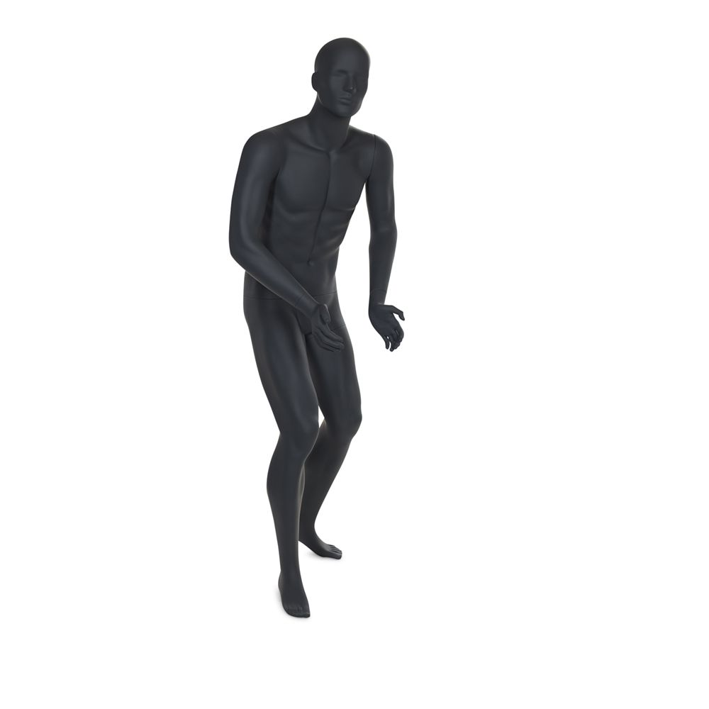 Mannequin homme de sport tête stylisée frp couleur gris graphite avec socle (photo)