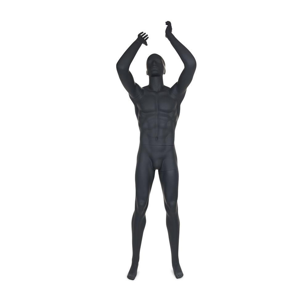 Mannequin homme de sport tête stylisée frp gris graphite socle inclus (photo)