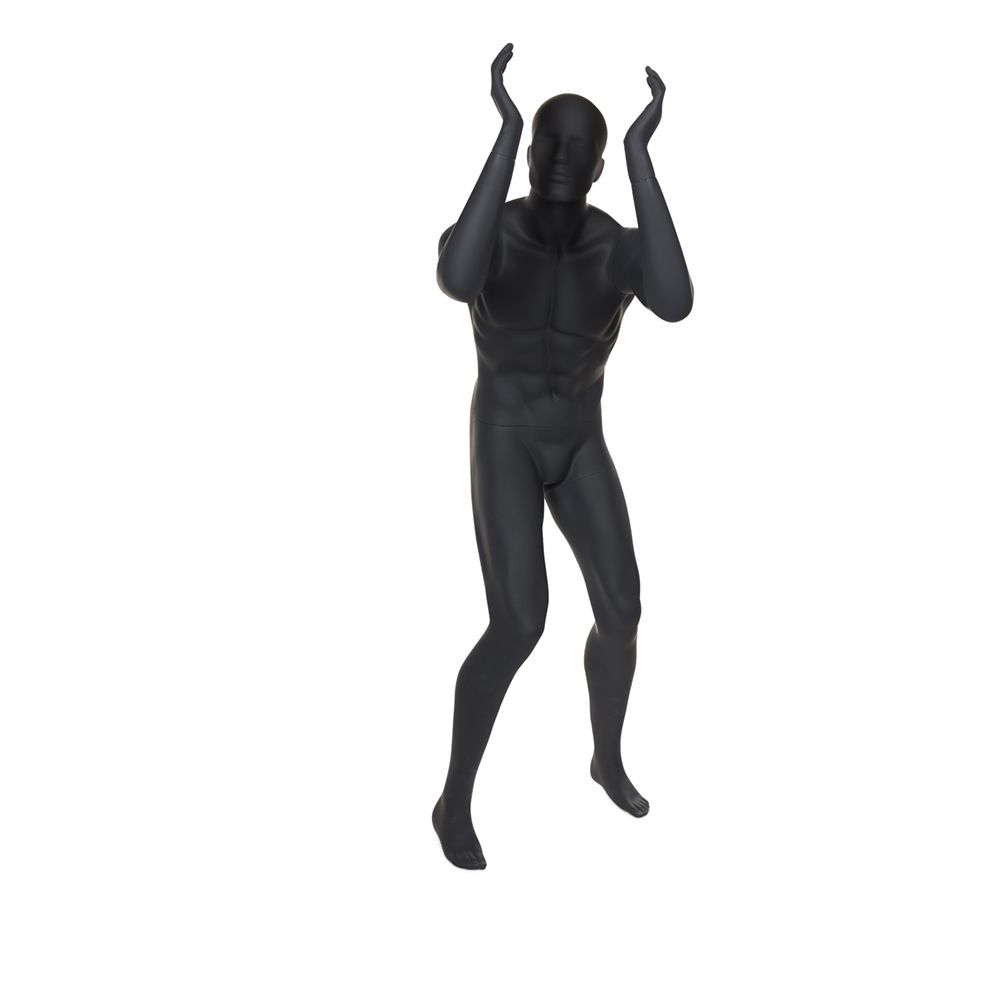Mannequin homme de sport tête stylisée frp coloris gris graphite inclus socle (photo)