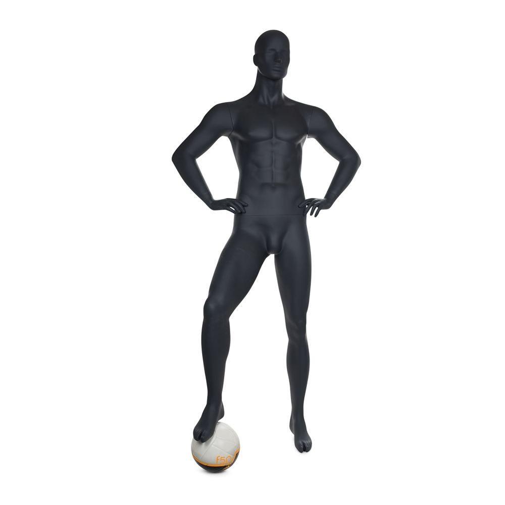 Mannequin homme de sport tête stylisée frp couleur gris graphite et socle (photo)