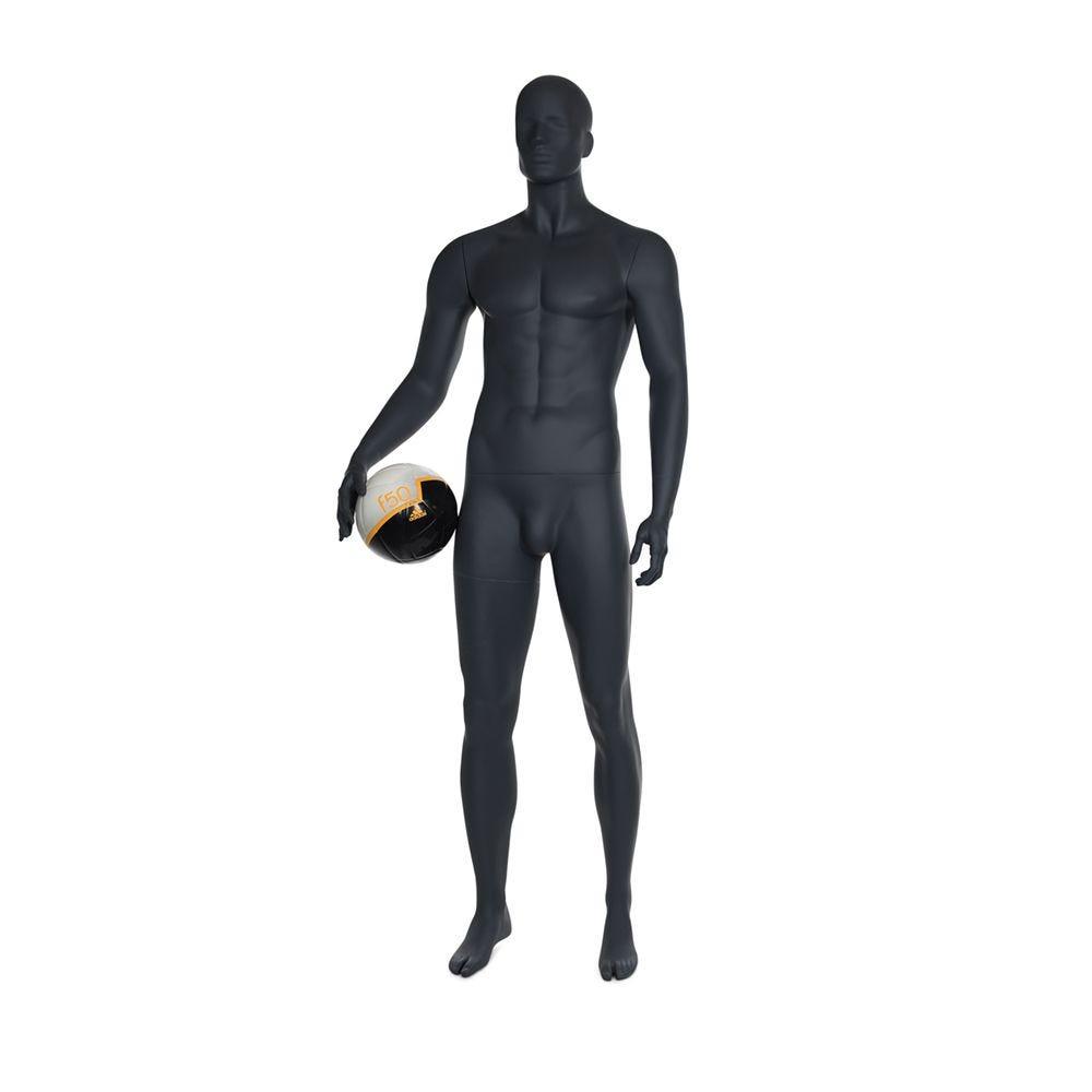 Mannequin homme de sport tête stylisée frp couleur gris graphite socle (photo)