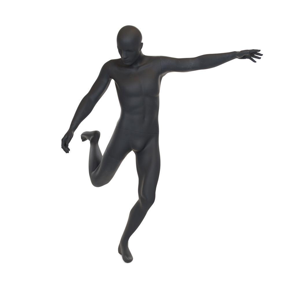 Mannequin homme de sport tête stylisée frp gris graphite avec socle (photo)