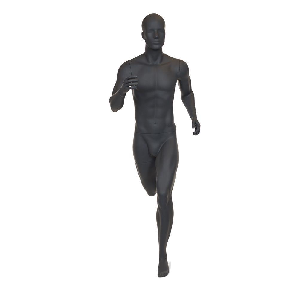 Mannequin homme de sport tête stylisée frp couleur gris graphite inclus socle (photo)